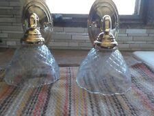 2- Brass Wall Sconces Lights With Glass