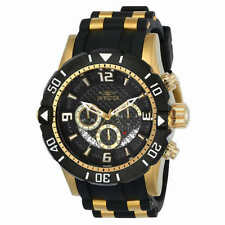 MENS Invicta PRO DIVER 23702 Watch Black Gold Dial Chrono Stainless Steel