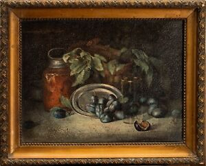 Antique 19th Century 1800s Oil Painting Wood SIGNED Still Life Realism Old Art