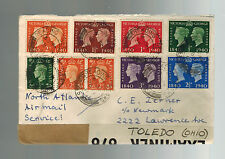 1941 England Censored North Atlantic Airmail Cover to Toledo Usa Great Franking