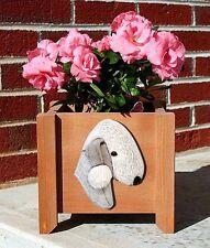 Bedlington Terrier Planter Flower Pot White