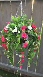 Beautiful  Pink/white Greenery Artificial  Trailing Hanging Basket Ready To H