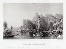 "Charming 1800s Thomas ALLOM Antique Engraving ""Le Tseaou Shan"" SIGNED Framed COA"