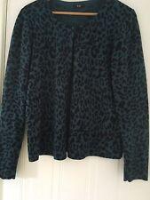 Teal Turquoise Leopard Print Cardigan, Size 18, F&F, Rockabilly