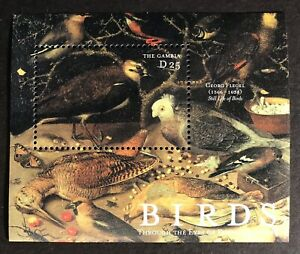 GAMBIA BIRD ART STAMPS S/S 2000 MNH BIRDS THROUGH THE EYES OF FAMOUS PAINTERS