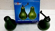 Wooden Set Salt Shaker GREEN Pear Pepper Mill Country Kitchen Decor
