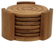 7 Piece Bamboo Coaster Set 6 Coasters With Holder Drink Cup Bar Table Wood Decor