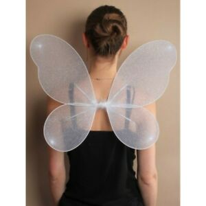 New White Net Fairy Wings with Silver Glitter for Girls
