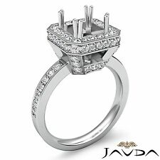 Princess Semi Mount Diamond Engagement 0.85Ct Ring 18k White Gold Halo Pave Set