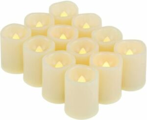 12 Pack Battery Operated Flameless LED Votive Candles Flickering Wedding Party