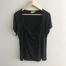 Taking Shape Women's Black Top Plus Size S 16 Short Sleeve Stretchy Fitted