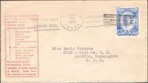 TONGA, 1934. Cover 58, Tin Can Mail, Seattle
