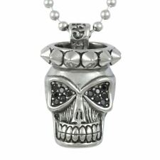 Spikes Skull Pendant Necklace Stainless Steel with 12 Cubic Zirconia By Controse