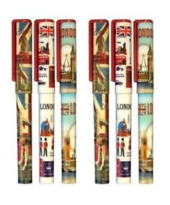 6 Pens London Souvenir Blue Ink England Landmark Pen Union Jack British Gift Pen
