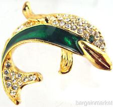 Crystal Dolphin Fashion Brooch Gold Ep Enamel &