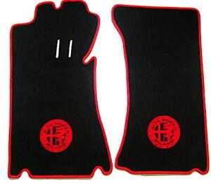 Black Velours Floormats for Alfa Romeo Spider Duetto 1966-1969 red