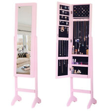 Freestanding Jewellery Cabinet Armoire Makeups Storage Mirror Display Organizers