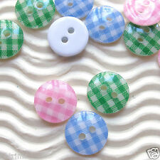 "US SELLER - 90 x 0.5"" Plastic Gingham Buttons Round/Flatback for Kids SB147B"