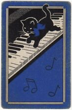 Playing Cards Single Card Old Vintage KITTEN CAT + Bow PIANO MUSIC Art Design 3