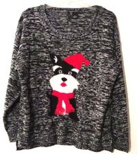 Womens Sweater Black Gray Blend New Directions Fuzzy Knit Dog Hat Scarf Plus 1X