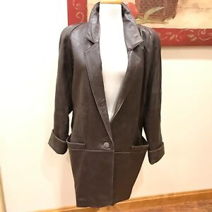 Vtg Tibor Brown Leather Mid Length Hip Jacket Woman's Size Small Medium Coat