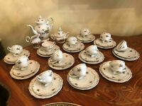 12 Cups Saucers Plates Pot Sugar Milk Weimar Katharina Germany Porcelain Coffee
