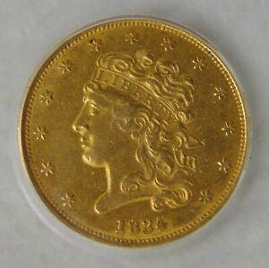 1834 Classic Head Gold Dollar $5 Half Eagle, ICG AU 55 ~ Beautiful Coin!