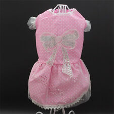 Sequins Bead Small Dog Clothes Puppy Bow Dots Dress Skirt Dog Apparel Outfit