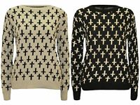 Womens Arrived Trendy Casual Knitted Jumper Tops Cross Print Long Sleeve