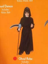 Black Hooded Ghoul Robe Halloween Costume UNisex size child Small 4-6