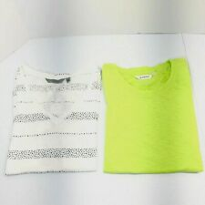 New Athleta Womens Short Sleeve Shirt Lot Of 2 Size Small Green White