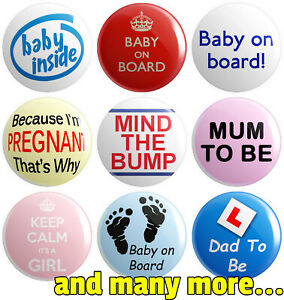 Pregnancy - Various Designs - BUTTON PIN BADGES 25mm 1 INCH | Baby on Board