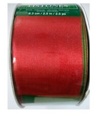 Kirkland Wire Edged Ribbon Red/Green Double Sided Satin 50 Yards 2.5 inch