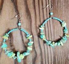 "Silver Hook Carol Dauplaise 2"" inch Turquoise Green Chip Beaded Hoop Earrings"