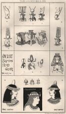 Ancient Egyptian head gear. Buildings 1875 old antique vintage print picture