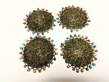 """(4) Christmas Beaded Coasters With Bells  4"""" Round"""