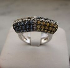 GORGEOUS 14K BLUE AND YELLOW SAPPHIRE AND DIAMOND FASHION  RING