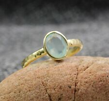 Solid 925 Sterling Silver Chalcedony Gemstone Gold Plated Gift Ring Size 7 US