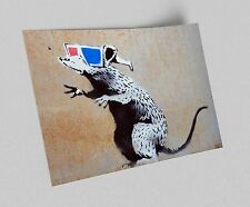 ACEO Banksy 3D Glasses Rat Graffiti Street Art Canvas Giclee Print