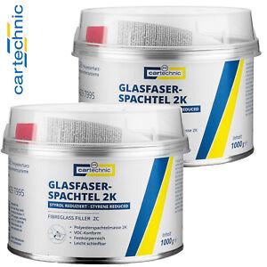 2x Cartechnic 2K Glasfaserspachtel VOC Spachtel Styrol reduziert + Härter 1000g