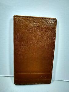 Fossil Lufkin Mens Slim Bifold Executive Wallet Medium Brown Pebbled Leather NWT