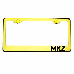 Gold Chrome License Plate Frame MKZ Laser Engraved Metal Screw Cap
