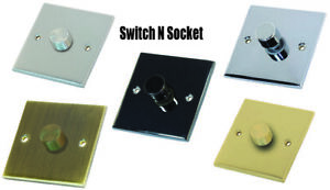 Decorative Metal 1 Gang Dimmer Light Switch 10A 2 Way - Various finishes