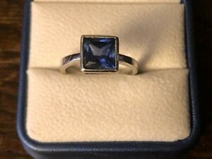 Ladies Cocktail Ring Square Lab Created Sapphire White Gold Over Silver. Size S