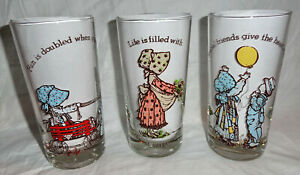 (3) Vintage 1970's Holly Hobbit American Greeting Drinking Glasses