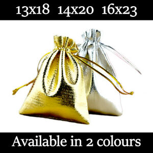 Large Satin Gift Pouches Wedding Favour Bag Jewellery Pouch 2 Colours & 3 Sizes