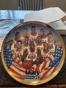 "First Ten Chosen Plate Dream Team 10.25"" Gold Edition COA Jordan Magic Bird 1992"
