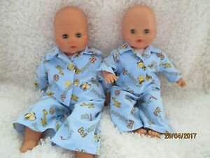 Handmade Pyjamas for Annabell/Baby Doll Supersoft Fabric- 2pce set -Blue Jungle