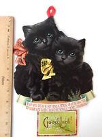 Victorian Repro Black Kittens Cats  Good Luck Calendar 1973 Dundee Scotland