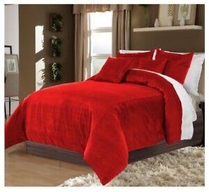 5 PC Reversible Red and White Twin XL Size Velvet Duvet Cover Set Home Decor